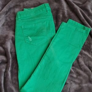 Lauren Conrad LC green skinny Jeans denim rips